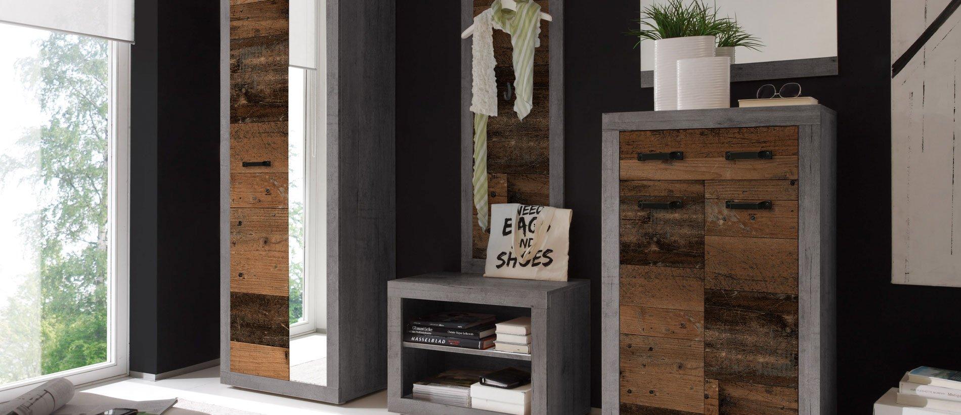 First Look – Indiana Garderobe, Betonoxid/Old Wood