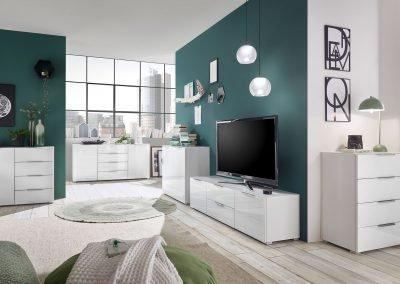BEGA-Consult – Marseille Kommoden, Weiß/Glas/Opti-White